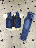 Boys Fancy Half Shirt Denim Jacket Suits