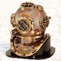 Diving Diver Helmet With Wooden Base