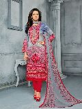 Designer Cotton Satin Semi Stitched Multicolor Printed Embroidered Salwar Suit