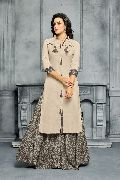 Designer Semi Stitched Chanderi Cotton Embroidered Sharara Salwar Suit