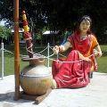 Punjabi Traditional Lady Fiberglass Statue With Madhani