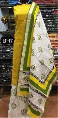 handloom cotton suits with block printed handloom dupatta