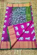 handloom soft uppada silk sarees with peacock design and contrast blouse