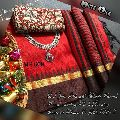 MF 609 jute silk sarees with contrast blouse