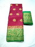 peacock butta tussar saree with contrast blouse