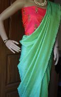 Semi raw silk sarees with printed soft silk blouse