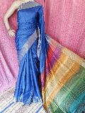 heavy zari border Tussar block printed saree