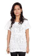 Girls White Printed Tunic