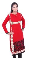 Red Embroidered Woollen Kurti