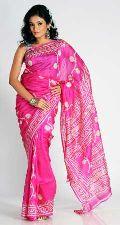 Printed Silk Pink Saree