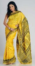 Printed Silk Yellow Saree