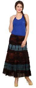 E071 Brown Blue Ladies Skirt