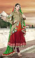 Art Silk Jacket Style Churidar Kameez