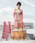 Pink Net Jacket Style Lehenga Choli with Dupatta