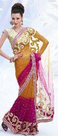 Dark Pink Net Saree with Blouse