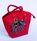 Red Hand Painted Jute Bag