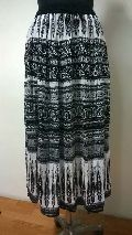 Rayon 2 Panel Black N White Printed Ladies Skirt