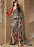 printed work sarees