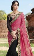 Sbw22025-Vt Embroidery Ambica Fab Embroidery Work Half Pink Saree