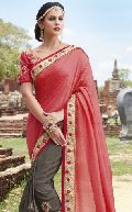 Sbw22027-Vt Embroidery Ambica Fab Embroidery Work Half Pink Saree