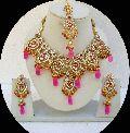 Bollywood Pink Kundan Zircon Necklace Set