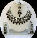 Indian Bollywood Black Kundan Zircon Necklace Set