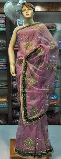 Net Velvet Embroidered Saree