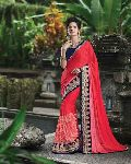 Angelic Red Jacquard Georgette Saree