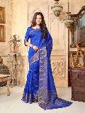 Astounding Blue Tussar Silk Saree