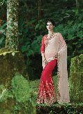 Astounding Cream Lycra Net Designer Saree