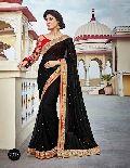 Colourful Black Georgette Designer Saree