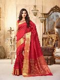 Delectable Dark Red Tussar Silk Saree
