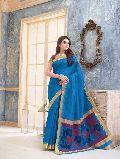 Exotic Marine Blue Tussar Silk Saree
