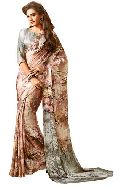 Girlish Brown Satin Silk Designer Saree