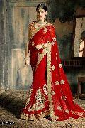 Glossy Red Georgette On Net Designer Saree
