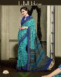 Glossy Teal French Crepe Saree