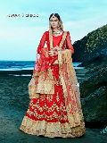 Lovable Red Fancy Net Designer Lehenga Choli