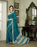 Monumental Teal French Crepe Saree