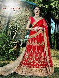 Prudent Red Fancy Net Designer Lehenga Choli