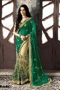 Regal Sea Green Georgette On Net Designer Saree