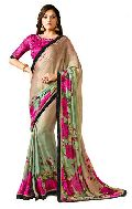 Royal Light Brown Satin Designer Saree