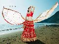 Sacral Red Fancy Net Designer Lehenga Choli