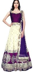 Sensational Purple & White Raw Silk Anarkali Suit
