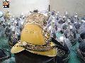 Rare Yellow Finishing Brass Fireman Helmet Victorian Fire Fighter Helmet