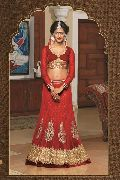 Red Embroidered and Handworked Net Designer Lehenga Choli