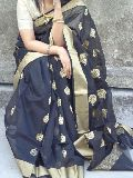 chanderi silk saree with resham booti work all over