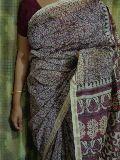 hand block prints silk-cotton saree - deep prints