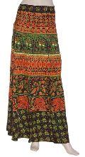 Designer Cotton Long Wrap Skirt