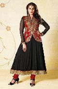 Black & Crimson Faux Georgette Salwar Kameez