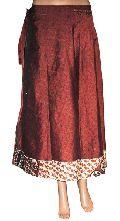 Two Layer Long Vintage Silk Magic Wrap Skirt